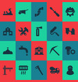 industry icons set with bolt with nut instruments vector image vector image