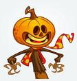 jack o lantern character mascot vector image vector image