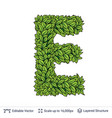letter e symbol of green leaves vector image vector image
