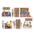 Library And Bookstore With People REading vector image vector image