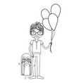 line father with his daughter and balloons vector image vector image