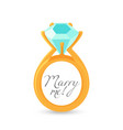 marry me sign and gold engagement ring vector image