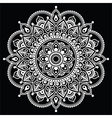 Mehndi Indian Henna tattoo white pattern on black vector image vector image