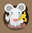 mouse with cheese in a paper-style foot vector image