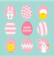 painted pattern egg frame set bunny rabbit hare vector image vector image