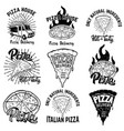 pizza labels design elements for logo emblem sign vector image