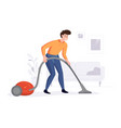 professional cleaner cleans house with a vector image vector image
