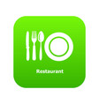 restaurant icon green vector image
