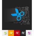 scissors paper sticker with hand drawn elements vector image