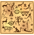 Set elements African petroglyph art old vector image vector image