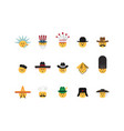 set of emoticon with hat vector image