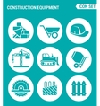 set of round icons white Construction equipment vector image vector image