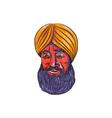 Sikh Turban Beard Watercolor vector image vector image
