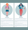 students poster with female pupils holding books vector image vector image
