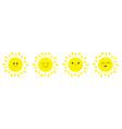 sun shining icon set line kawaii face vector image vector image