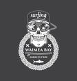 Surfing skull hawaii vector image vector image