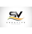 sv s v swoosh letter logo design with modern vector image vector image