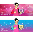 the girl in the comfortable clothes pointing vector image vector image