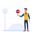 traffic security guard with stop sign in front of vector image