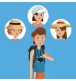 traveler boy tourist with camera photo girls vector image