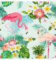 Tropical Flowers and Birds Background Vintage vector image vector image