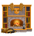 vintage books lie on mantel in vintage style vector image vector image
