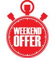 Weekend offer red stopwatch vector image vector image