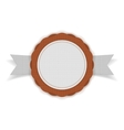 White and orange festive Emblem on Ribbon vector image vector image