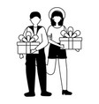 woman and man gift birthday celebration vector image vector image