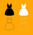 woman dress set black and white icon vector image