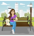 Young happy woman enjoying freetime in city park vector image vector image