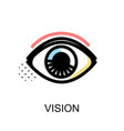 vision icon with eye symbol on white background vector image