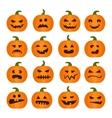 Halloweens pumpkin icons set vector image