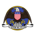 american eagle wearing flag shield and ribbon sign vector image