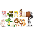 Animals with empty signboards vector image vector image