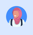 arab woman face avatar happy arabic girl wearing vector image