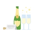 Bottle of champagne and two glasses vector image vector image