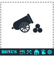 Cannon icon flat vector image vector image