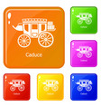 carriage icons set color vector image vector image