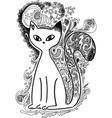 Cat in the moonlight sketchy doodles vector image vector image