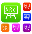 chalkboard with the leters abc set collection vector image vector image