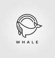 Circle whale humpback logo design cute whale fish