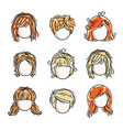 collection of cute girls faces human head flat vector image vector image