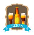 craft beer label and neck label on brown bottle vector image