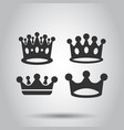 crown diadem icon set in flat style royalty crown vector image