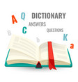 dictionary with all answers to questions promo vector image vector image