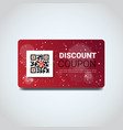 discount coupon design voucher with qr code for vector image