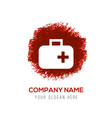 first aid medical kit icon - red watercolor vector image vector image