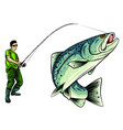 fishing design for a fisherman catches a vector image vector image
