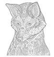 fox adult coloring page vector image vector image